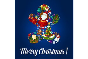 Merry Christmas gingerbread vector greeting card