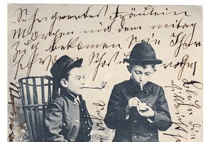 antique postcard, smoking boys