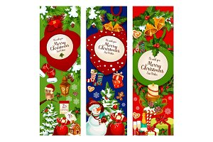 Christmas tree and holly wreath greeting banner