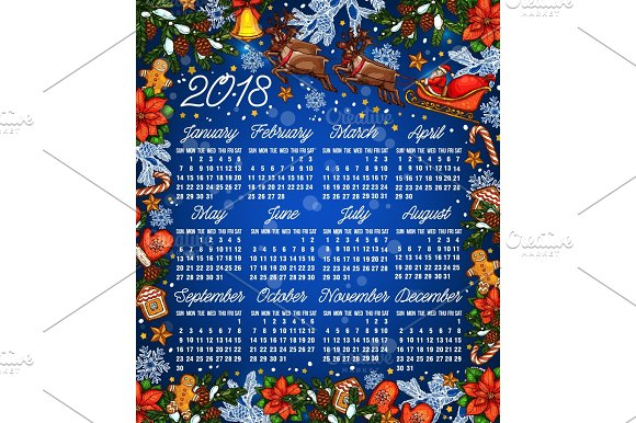 Christmas Holiday 2018 Year Calendar Template Illustrations