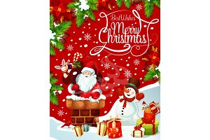 Merry Christmas Santa gifts tree vector greeting
