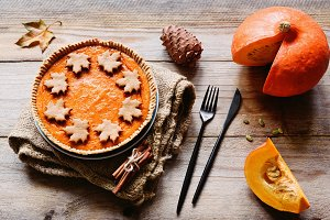 Pumpkin pie Thanksgiving day food