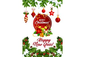 Happy New Year Christmas tree vector greeting card