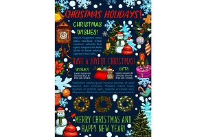 Merry Christmas wish greeting card vector sketch
