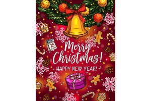 Christmas wreath with bell sketch poster design