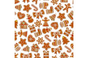 Christmas vector holiday seamless cookie pattern