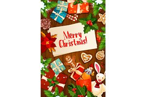 Merry Christmas wishes gifts vector greeting card