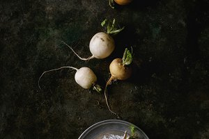 White radish with salt