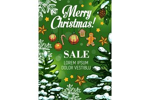 Christmas sale and New Year discount offer banner