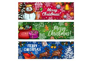 Christmas sketch banner for winter holiday design