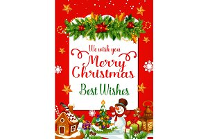 Christmas greeting card with xmas tree garland