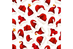 Santa red hats Christmas seamless pattern