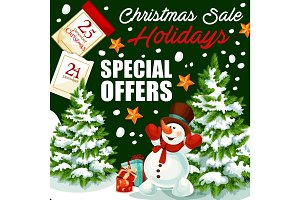 Christmas holiday sale vector shop promo poster