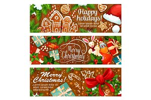 Merry Christmas gingerbread vector greeting banner