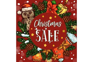 Christmas holiday sale banner with Xmas wreath