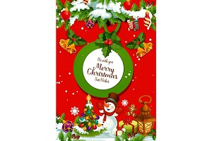 Christmas tree with gift and snowman greeting card