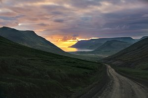 beautiful sunset over the fjord in Iceland