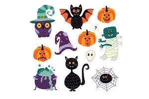 vector flat halloween symbols set