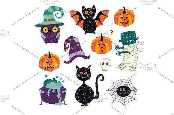 vector flat halloween symbols set ~ Illustrations ~ Creative Market