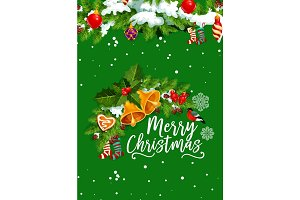 Christmas bell greeting card for winter holidays