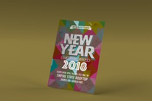 2018 Retro New Year Flyer Template