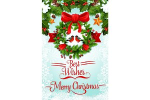 Christmas wreath with ribbon and bow greeting card