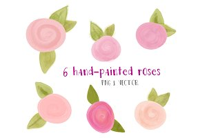 6 painted roses clip art