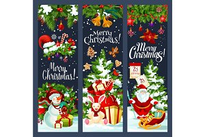 Merry Christmas Santa gifts tree vector banners