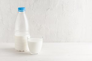White background with milk