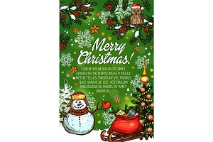 Christmas tree, gifts and snowman sketch poster