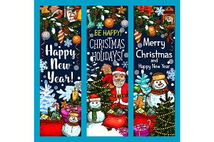 Merry Christmas Santa gifts vector sketch banners