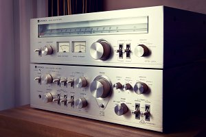 Vintage Stereo Amplifier Front Panel