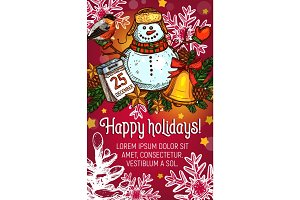 Winter holidays poster with Christmas garland