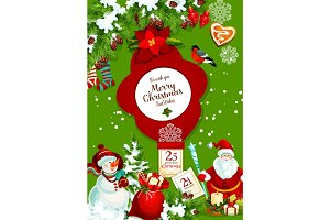 Santa and snowman with gift bag for Christmas card