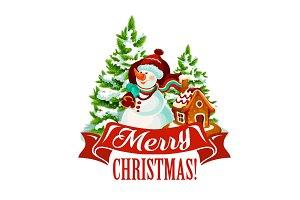 Christmas card with snowman and Santa gift bag