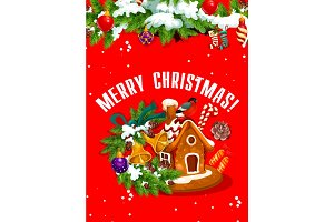 Merry Christmas banner with gingerbread house