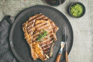 Grilled rib-eye beef steak