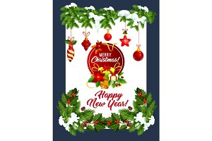 Happy New Year vector greeting card Christmas tree
