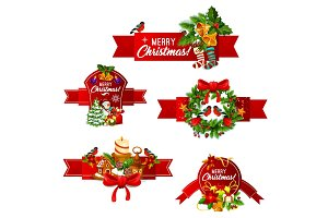 Christmas and New Year holidays ribbon banner