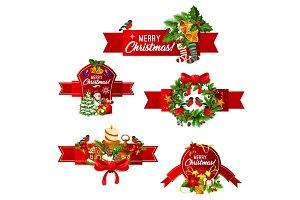 Christmas and New Year holidays ribbon banner