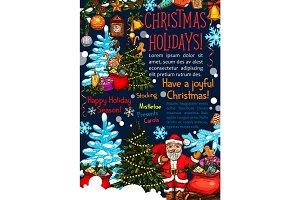 Merry Christmas vector sketch Santa greeting card