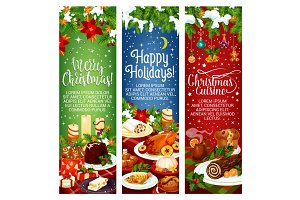 Merry Christmas vector dinner cuisine banners