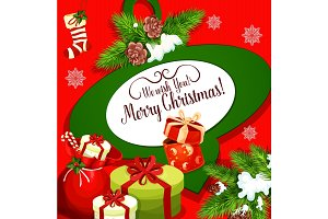 Christmas greeting poster with Santa gift bag