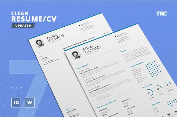 Clean Resume/Cv Template Volume 7