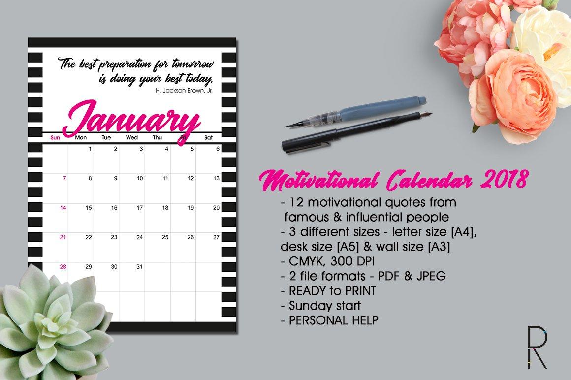 Motivational Calendar 2018 Stationery Templates Creative Market
