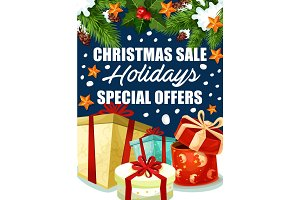 Christmas holiday sale gifts offer vector poster