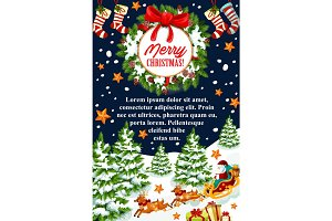 Merry Christmas gift stocking vector greeting card