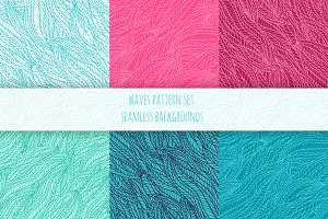 Hand drawn wave seamless patterns.