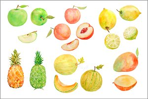 Watercolor Fruit Clipart Set3