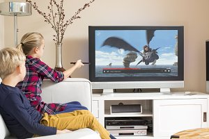 Kids watching netflix on tv